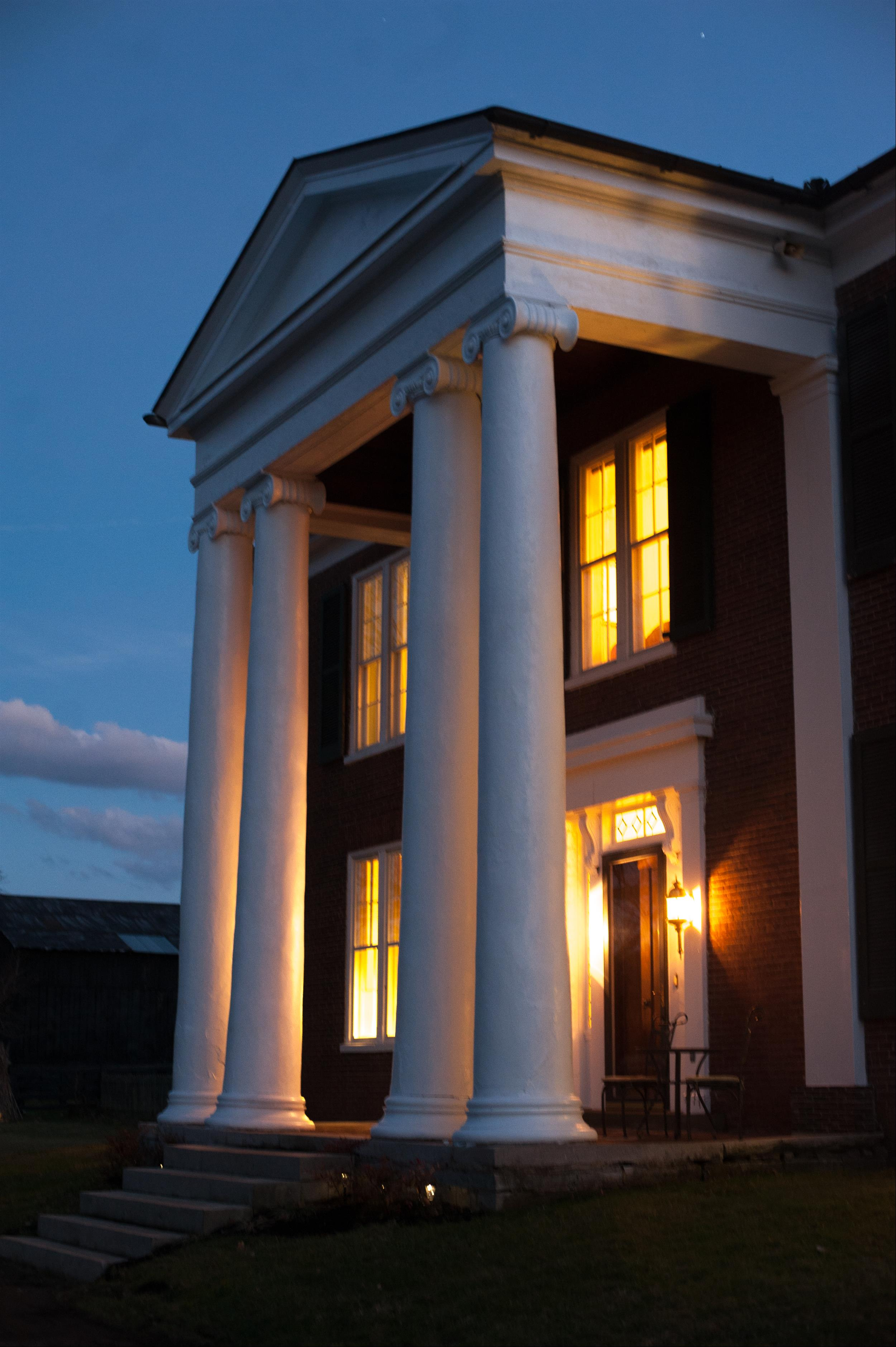 Evening view of front porch on Denny House