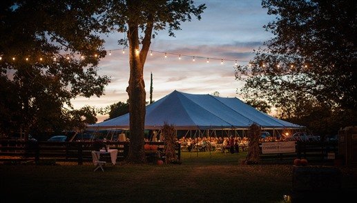 evening view of event tent